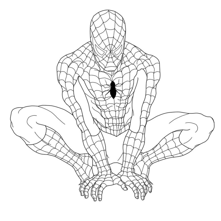 Line Art Man : Spiderman lineart by shadowhibari on deviantart
