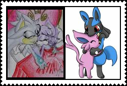 Silvaze and EspeonxLucario stamp by eeveexriolu