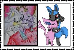 Silvaze and EspeonxLucario stamp by eeveecupcakegirl