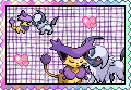 Absol x Delcatty stamp by eeveecupcakegirl