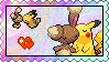 Pikachu x Buneary stamp by eeveecupcakegirl