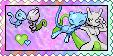 Shiny Mew x Shiny Mewtwo stamp by eeveecupcakegirl