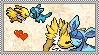 Glaceon x Jolteon stamp by eeveecupcakegirl