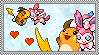 Raichu x Sylveon stamp by eeveecupcakegirl