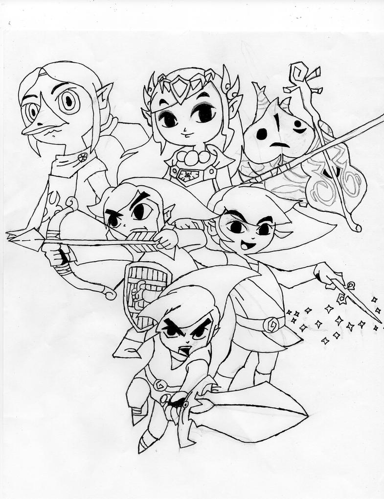 legend of zelda link coloring pages - legend of zelda wind waker drawing d by chaoticblades212