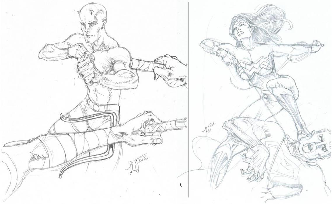 Daredevil VS Elektra, Wonder Woman VS Superman by EliseuGouveia