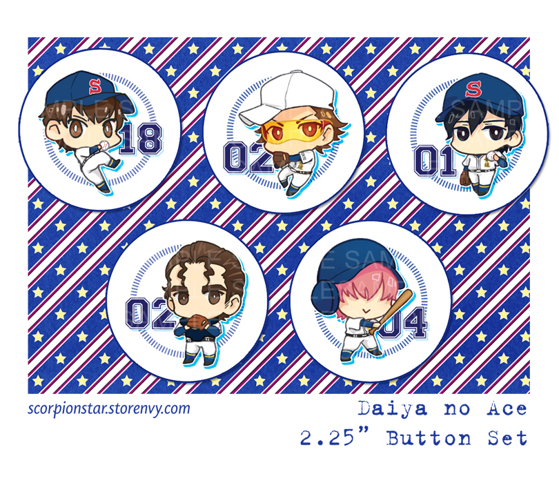 Daiya no Ace Pins by tea-and-dreams
