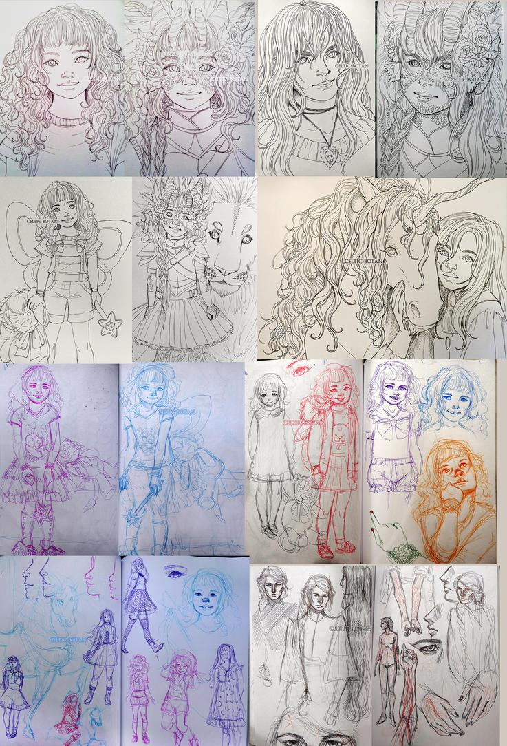 Linearts / Sketchdump by CelticBotan