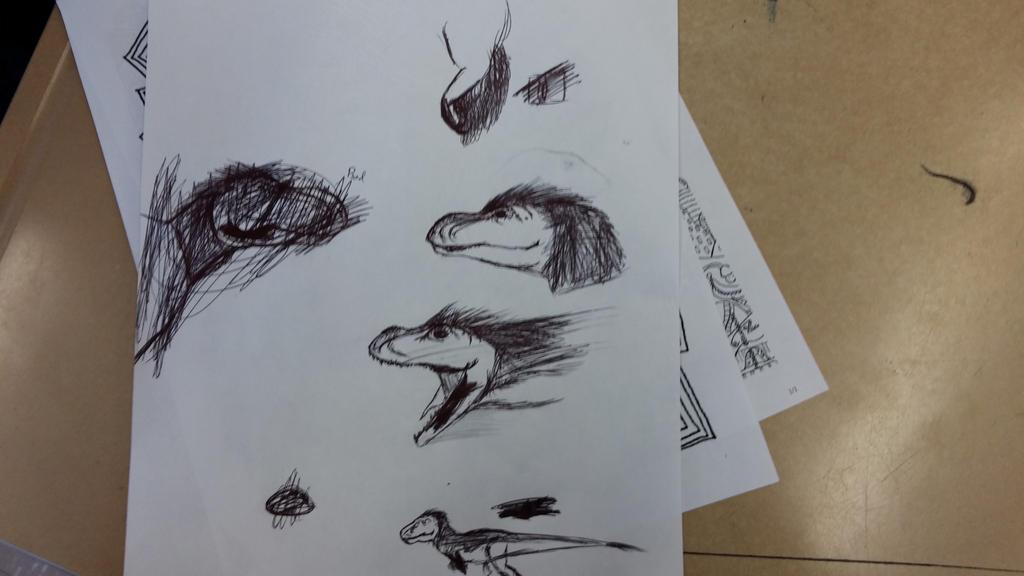 Chicken scratch T-rex sketches by Dinoal188