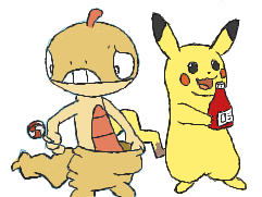 Scraggy and Pikachu by Pivotbash