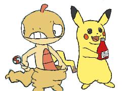 Scraggy and Pikachu by Pivotbash