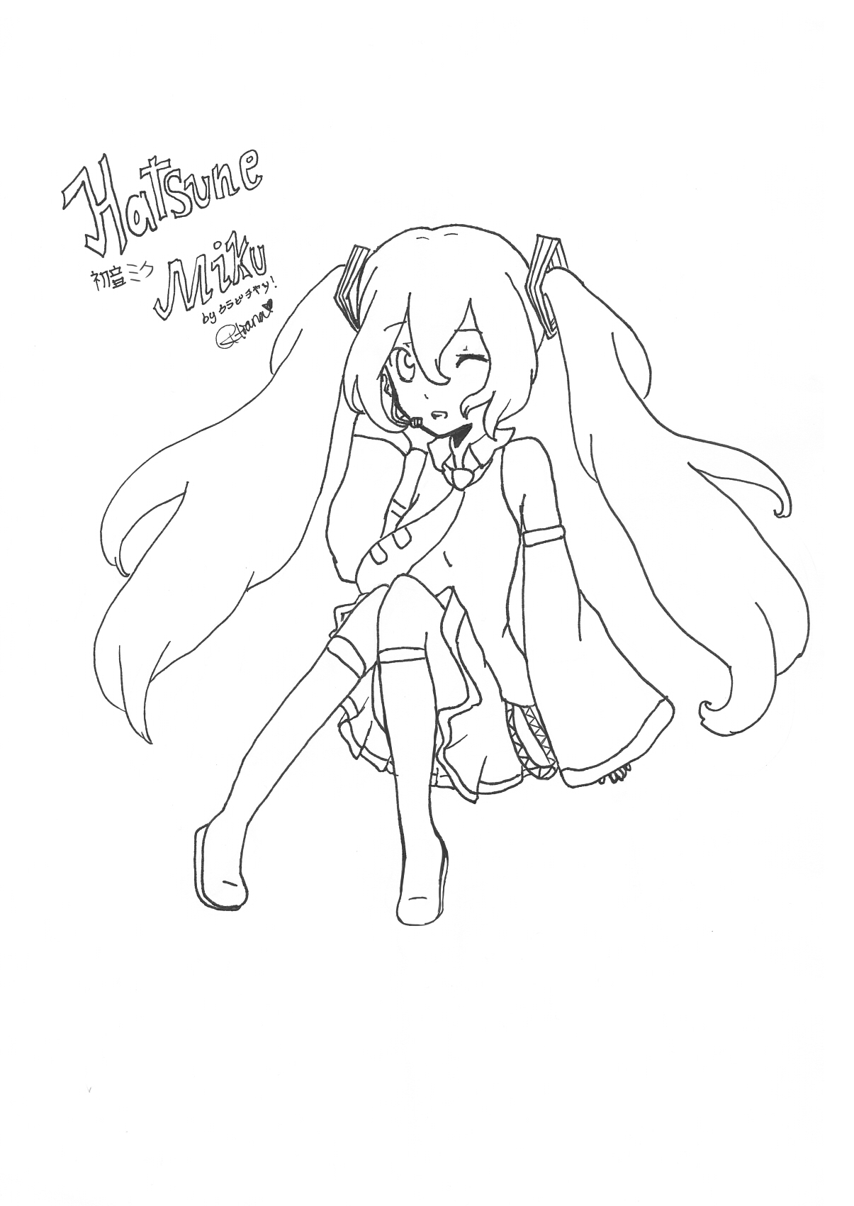 Hatsune miku colouring page by