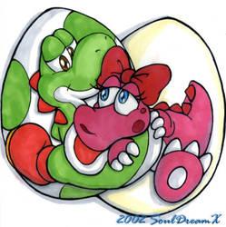 Yoshi and Birdo by souldreamx