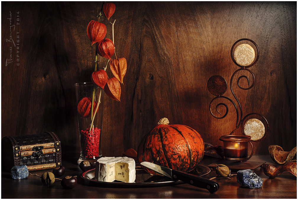 Still life with pumpkin and cheese by Argolith