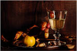 Still life with grapes and quince