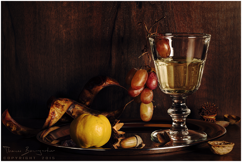 Still life with grapes and quince by Argolith