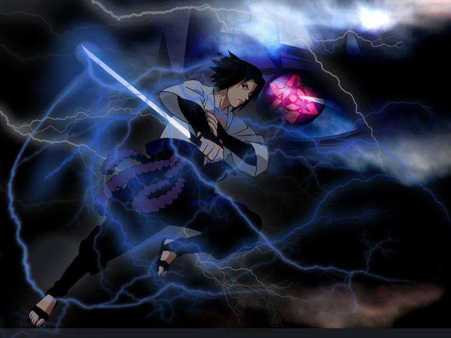 Sasuke Chidori Nagashi and eternal mangekyo V2 by venti ...