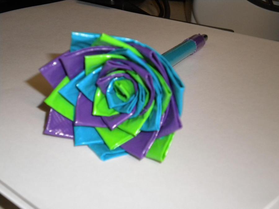 Duct tape flower pen crafts pinterest