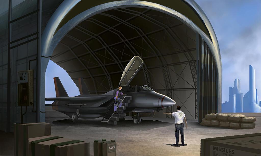 Tea Pandora and Serious Sam at the hangar by bungyx