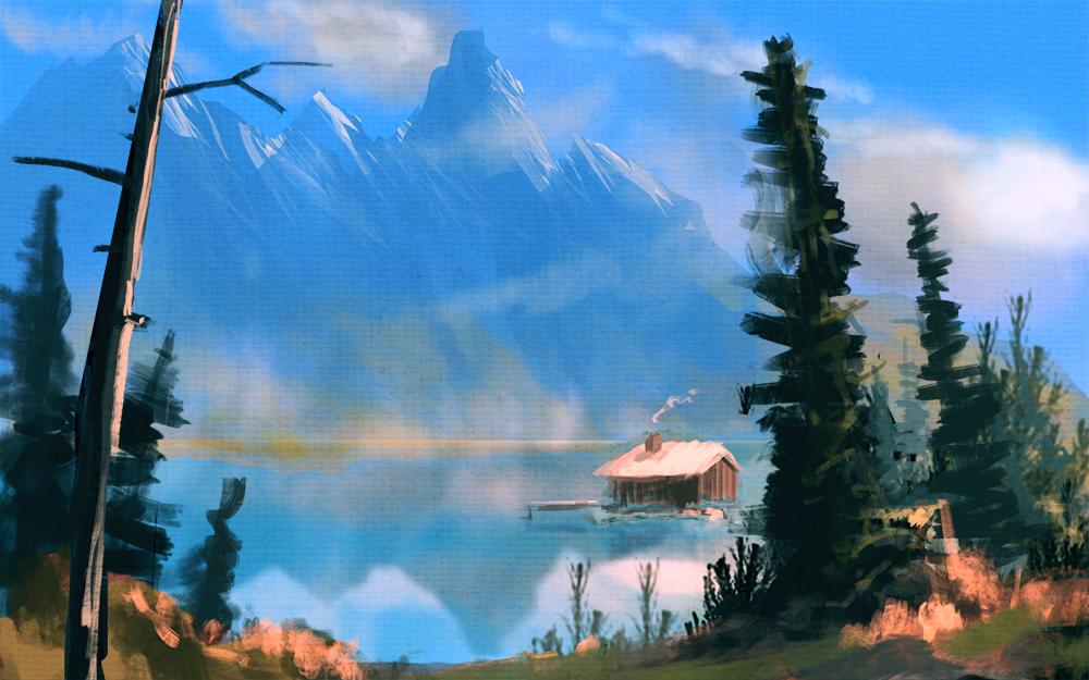Bob Ross mountain lake speedpainting by bungyx