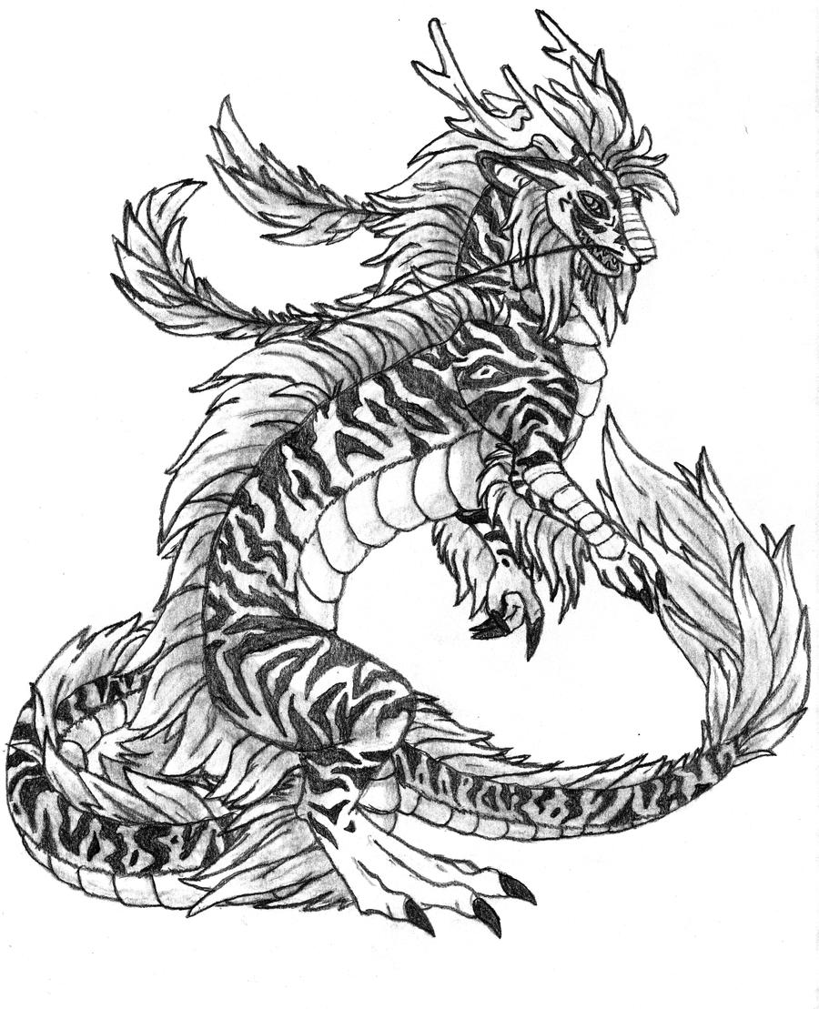 drawings of dragons and tigers pictures