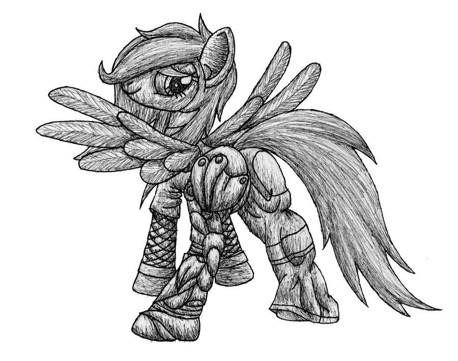 Chroma's New Leg pen sketch by MetaDragonArt