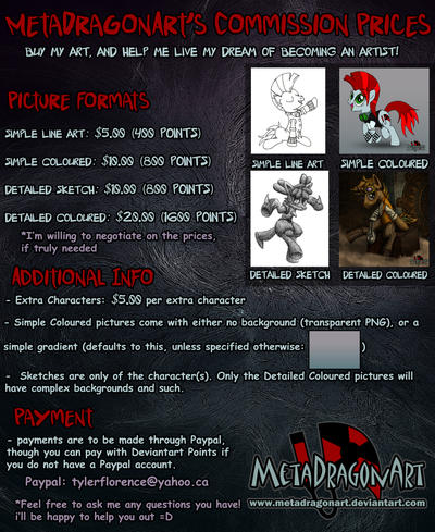Commission Prices - click for more info! by MetaDragonArt