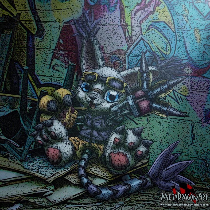 gatomon cyberpunk by MetaDragonArt