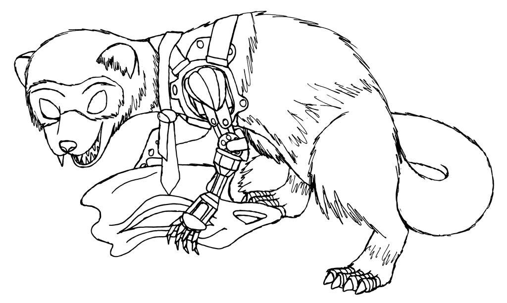 another cybernetic ferret sketch by MetaDragonArt