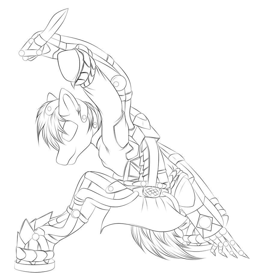 cyberskeleton pony sketch by MetaDragonArt
