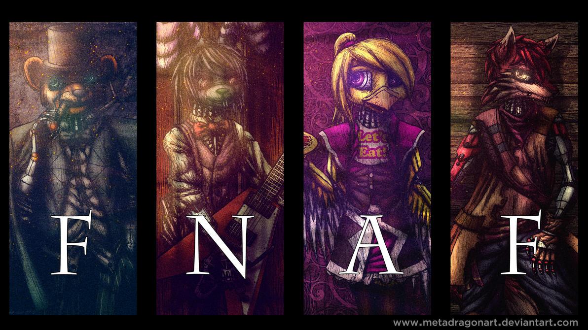 Five Nights At Freddy's cyberpunk poster by MetaDragonArt