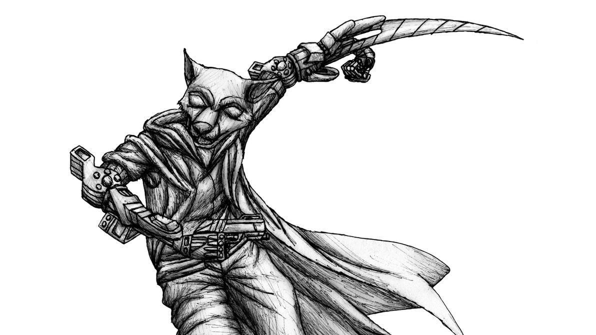 cyber sword arm pen sketch by MetaDragonArt