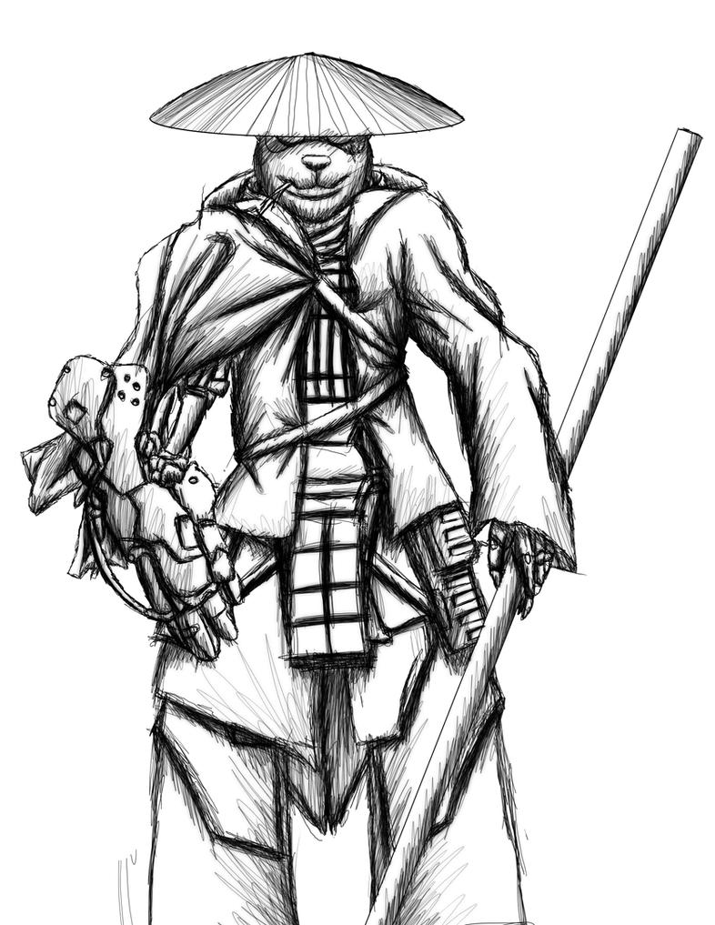 panda samurai sketch by MetaDragonArt