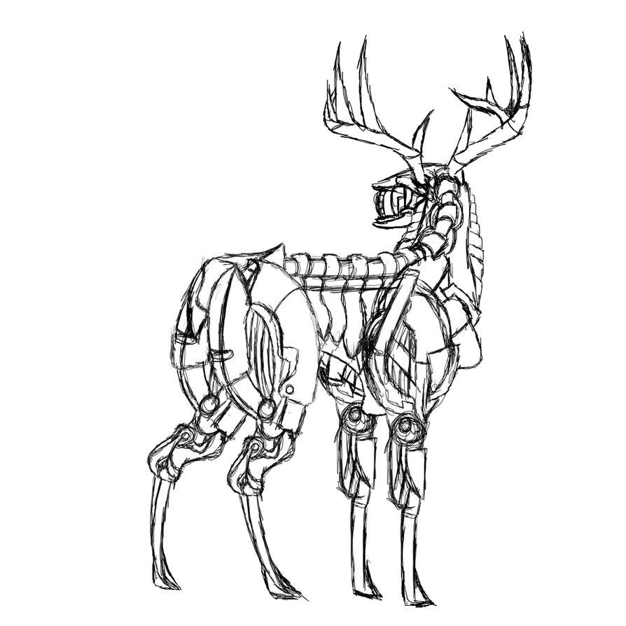 cybernetic  deer sketch by MetaDragonArt