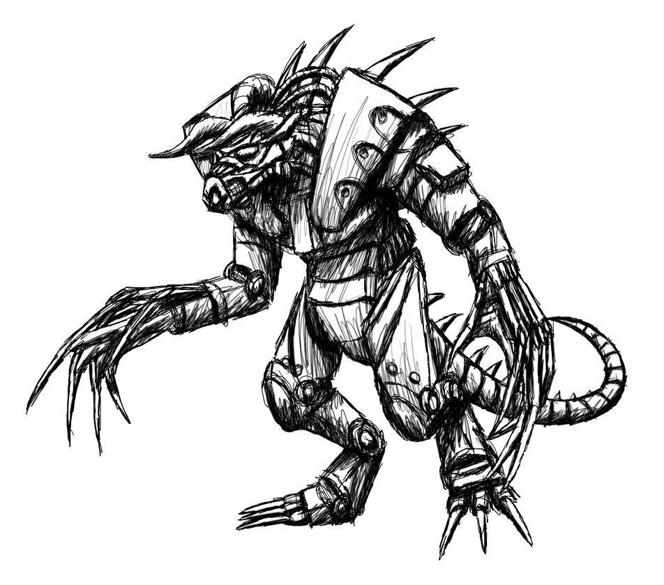 Enclave Power Armored Deathclaw Sketch by MetaDragonArt
