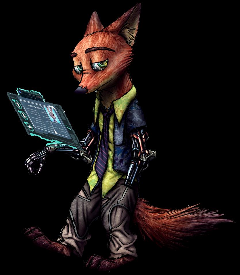 Nick Wilde cyberpunk render by MetaDragonArt