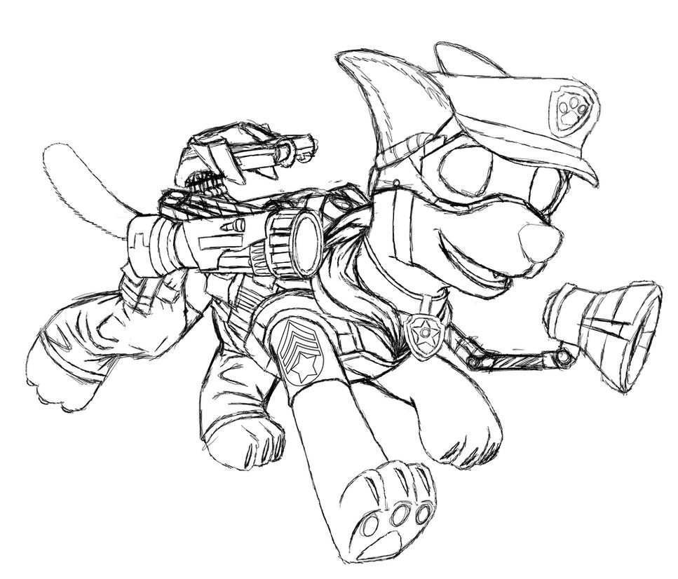 Paw Patrol Chase Sketch By Metadragonart On Deviantart