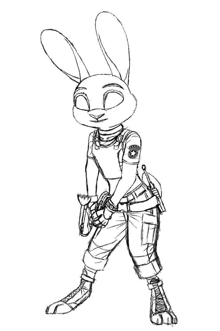 Zootopia X Resident Evil - Judy Hopps Sketch by MetaDragonArt