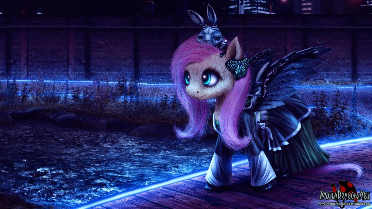 Cyberpunk Fluttershy by MetaDragonArt