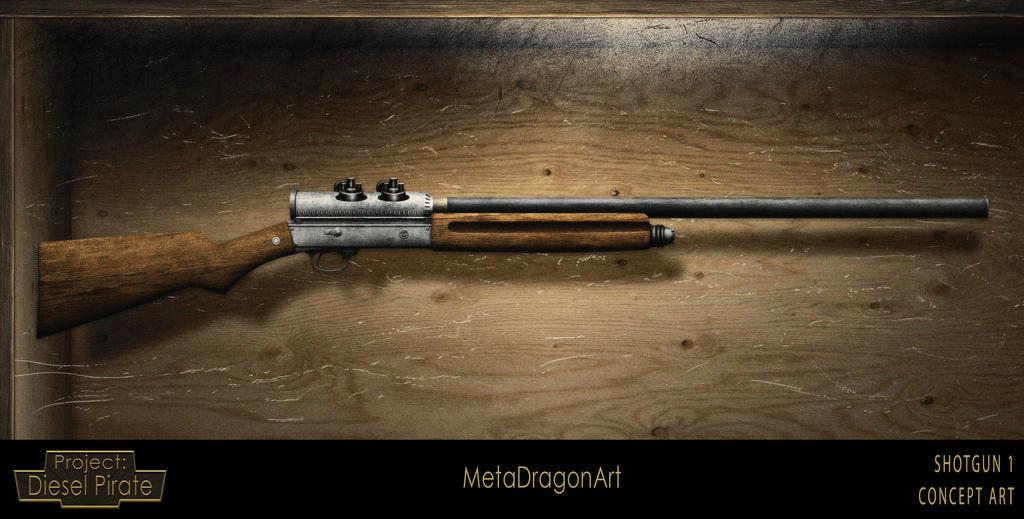Shotgun concept 1 - Project: Diesel Pirate by MetaDragonArt