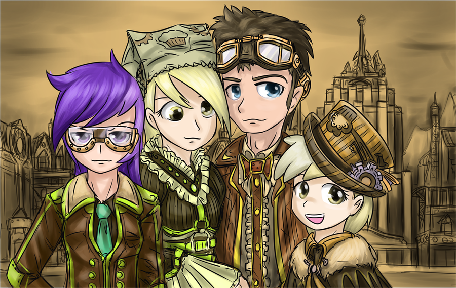 Steampunk Doctor Whooves And Derpy Wwwpicsbudcom
