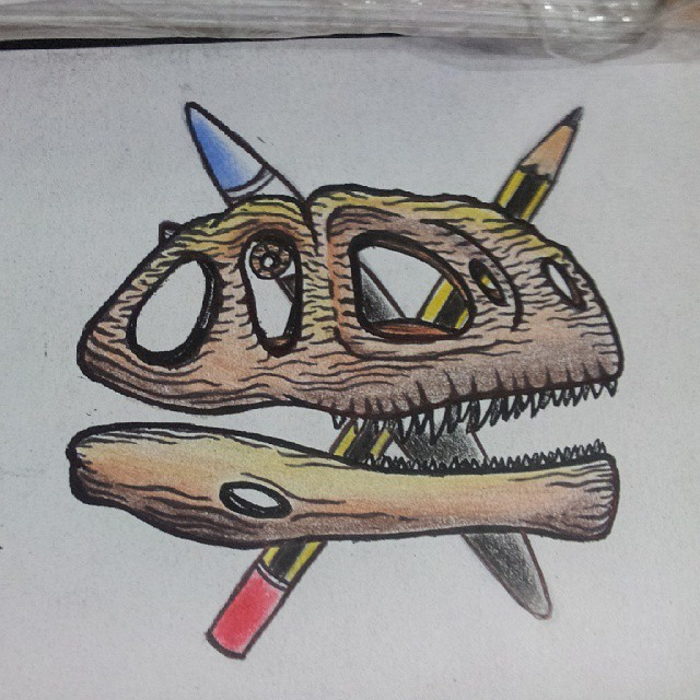 Dinosaur Skull Tattoo Idea by MadHatterMuscaria