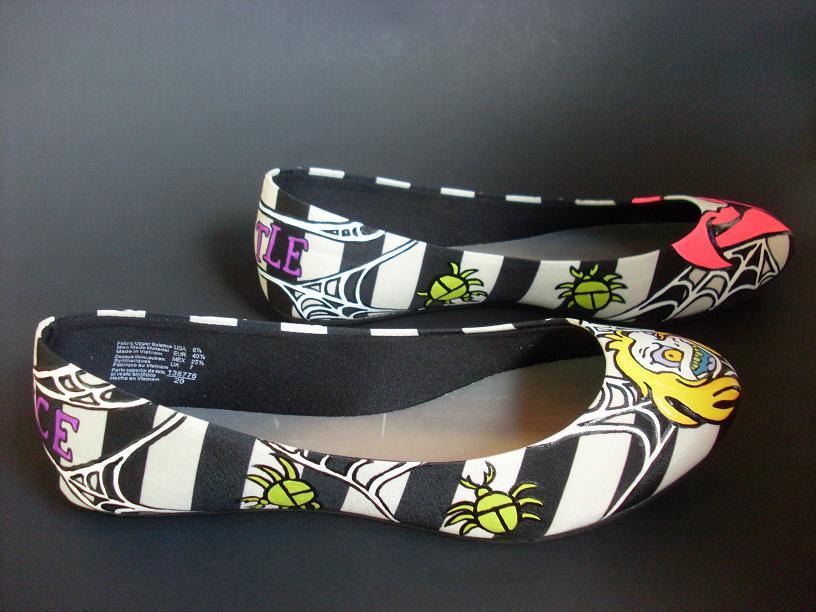 Handpainted Beetlejuice shoes Tim Burton by rachelliles352