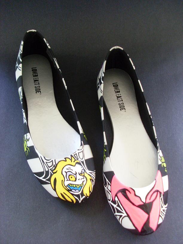 Handpainted Beetlejuce shoes Tim Burton by rachelliles352