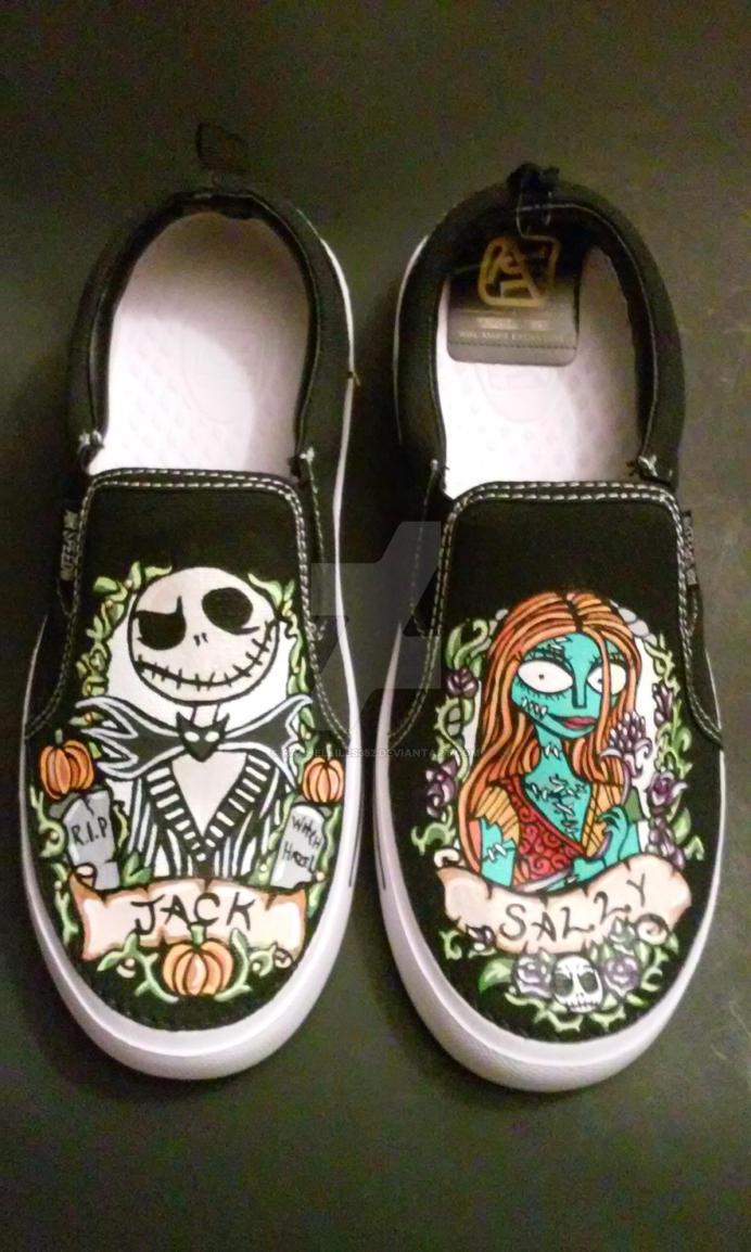 Custom Nightmare Before Christmas Portrait Shoes by rachelliles352