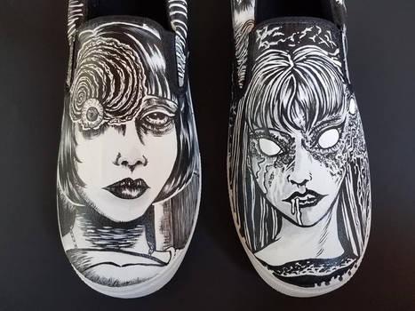 Junji Ito Inspired Custom Shoes Tomie Uzumaki
