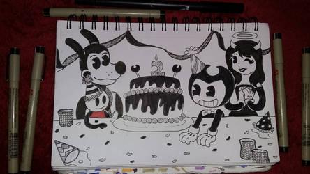 Happy birthday Bendy! by MLPAristiscCSketch