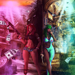 Blasian Hip-hop Models by ambient-avalancher