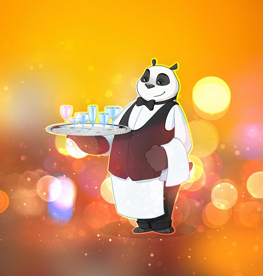 Panda_waiter by Uzuhiro