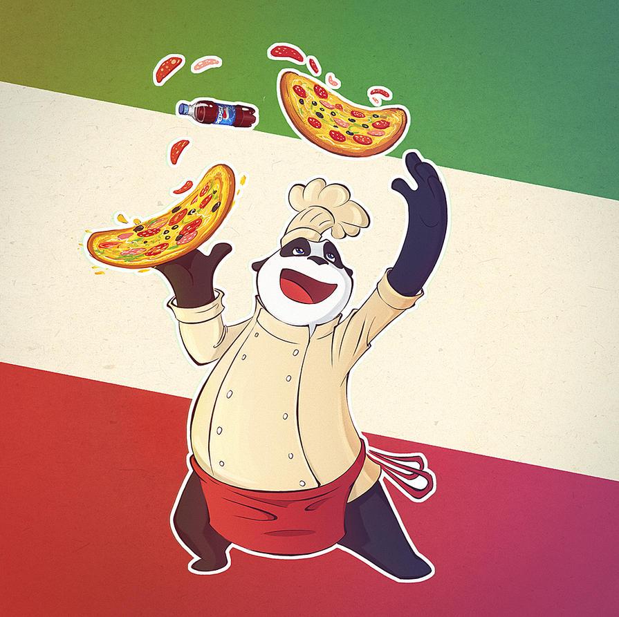 Panda italian day by Uzuhiro